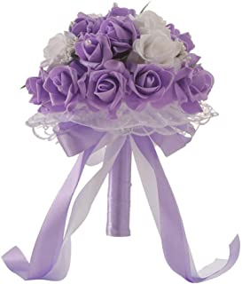 Anferstore Wedding Bouquets, Pearl Silk Roses Bridal Bridesmaid Wedding Hand Bouquet Artificial Fake Flowers for Wedding, Party and Church (Purple)