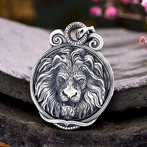 YANGYUE Colgante de Hombre de joyería de Plata Maciza S999 Cabeza de dragón/Cabeza de león/Cabeza de Lobo Retro Personalidad dominante Colgante para Hombre