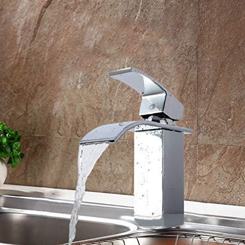 Krispich - Grifo de cascada para lavabo, lavabo, cocina, bañera, monomando, latón cromado, válvula de cerámica, agua fría y caliente disponible