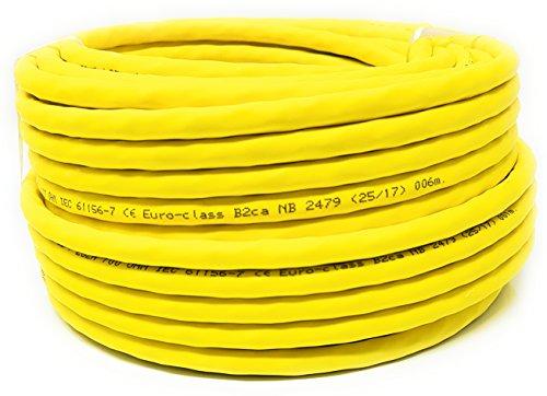 25M - Cavo LAN di rete Cat.7A + (Cat 8) Ethernet (bobina - tamburo) 1500 MHz - 4 paia - Alta velocità - Senza alogeni/rame/Super veloce - (PoE) / PoE + (giallo)