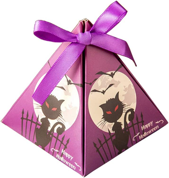 gowwim Halloween Treat Boxes,10PC Halloween Favor Candy Boxes Pumpkin Castle Moon Night Black Cat White Mummy Halloween Candy Cookie Boxes for Home School Classroom Party.