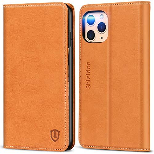 SHIELDON Hülle für iPhone 11 Pro Max, Stoßfeste Handyhülle [Erstklassiges Rindsleder] [Schlaf/Wachfunktion], RFID TPU Magnetische Klapphülle Lederhülle Stand Kartenfach für iPhone 11 Pro Max 6,5 Braun