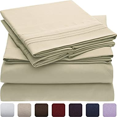 Mellanni Bed Sheet Set - Brushed Microfiber 1800 Bedding - Wrinkle, Fade, Stain Resistant - Hypoallergenic - 4 Piece (Full, Beige)