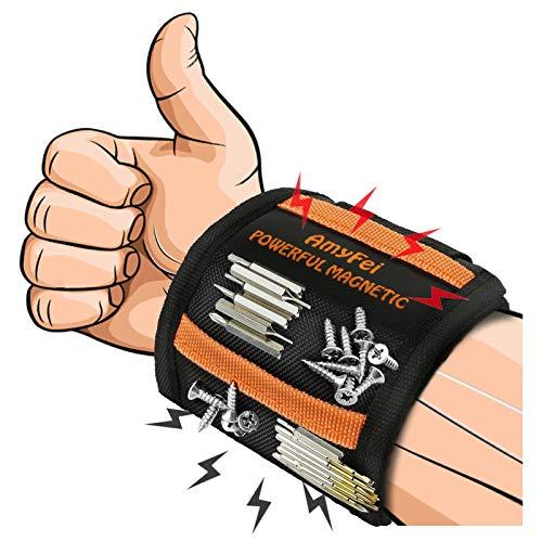 Magnetarmband Handwerker,Werkzeuggürtel Mit 15 Kraftvoller Magnet,Starker Magnetischer Armband Zum...