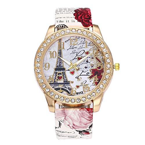 Women's Wrist Watch Vintage Paris Eiffel Tower Crystal Leather Quartz Wristwatch Best Gift (White)