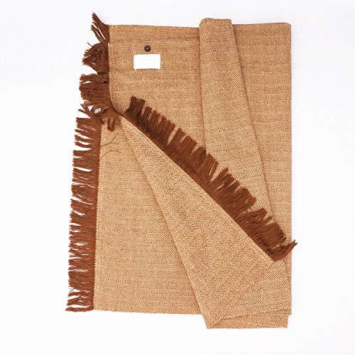 petit moxa Natürliche Yoga-Teppich, dicke Yoga-Matten, rutschfest, verdreht sich nicht, Leinen/Baumwolle, Yoga-Decke, 78,7 x 193 cm, Creek