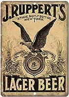 J.ルパートのラガービールヴィンテージBrewerianaレトロティンメタル看板、バー、書斎、リビングルーム、ダイニングルーム、ベッドルーム、カフェ