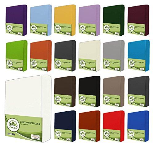 leevitex® Jersey Spannbettlaken, Spannbetttuch 100% Baumwolle in vielen Größen und Farben MARKENQUALITÄT ÖKOTEX Standard 100 | 180 x 200 cm - 200 x 200 cm - Weiß
