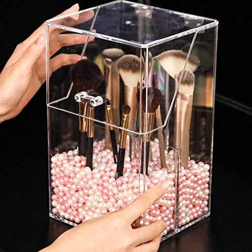 MUY Caja de Almacenamiento de brochas de Maquillaje acrílico Transparente con Tapa Maquillaje de plástico Hermosa Caja organizadora Portaherramientas cosmético Perla y Caja Venta separada