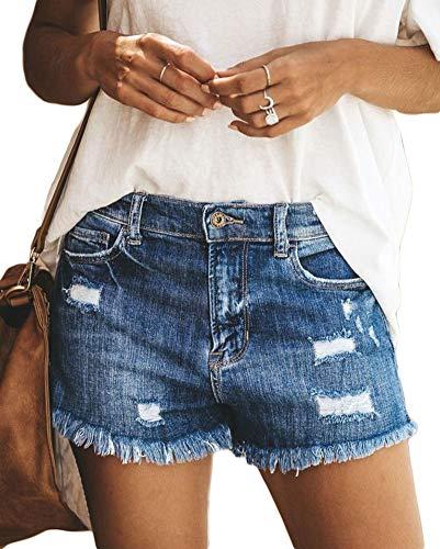 Shorts Denim pour Les Femmes, Distressed Comfy Ripped Trou Jean Shorts,Dark Blue,L