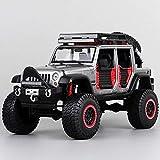 Modelo de coche 1:24 Jeep Wrangler Vehículo modelo de aleación modelo de coche modificación coche del concepto de decoración exclusiva de la colección de colección modelo (Color: GRIS) liuchang20