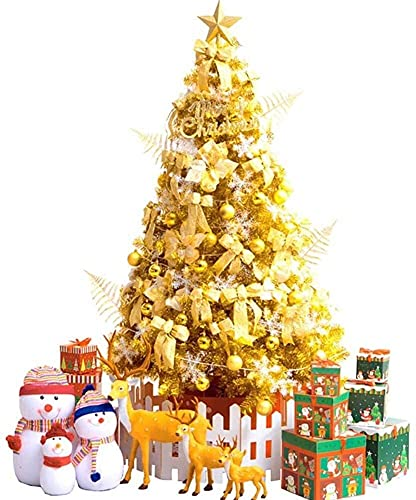 LILIXINGSH Arbol De Navidad Árboles de Navidad Artificiales Decoración de Navidad Dorada Plegable Árbol de Navidad Artificial Luces LED Spruce con Soporte de Metal Árbol de Navidad Artificial Navidad