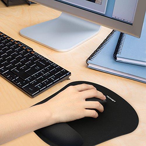 TECKNET Mauspad mit Gelkissen, Wasserdicht Ergonomisches Komfort Mousepad Office Mat Gel mit Handgelenkauflage für Computer und Laptop - 3