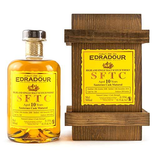 Edradour 2008 SFTC - straight from the cask - 10 Jahre - SAUTERNES CASK Single Malt Whisky mit Holzkiste (1 x 0.5 l)