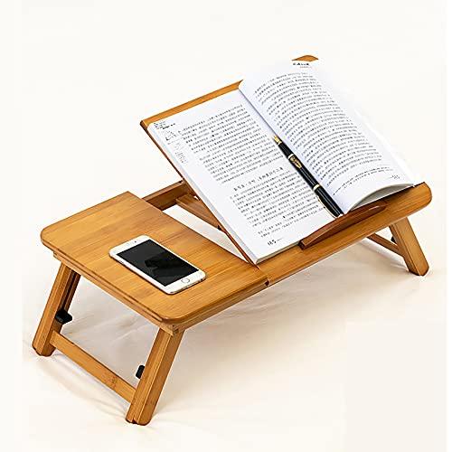 Mesa de Ordenador Portátil Bambú Bandeja de Cama Desayuno Plegable Reclinable Altura Ajustable Soporte Escritorio de Regazo 1 Cajón Mesa Plegable con cajón de bambú (Medium)