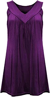 Women's Summer Solid Plus Size Sleeveless V Neck Pleated Tank Top Cami Blouse Shirt Purple X-Small