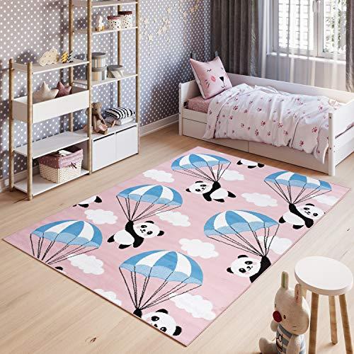 Tapiso Pinky Teppich Kurzflor Pink Schwarz Weiß Mehrfarbig Modern Panda Bär Teddy Design Kinderzimmer Kinderteppich ÖKOTEX 80 x 150 cm