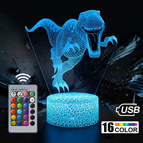 Dinosaur Night Light for Kids, Dinosaur Toys for Boys, 3D Optical Illusion Lamp, 16 Colour Changing Night Lamp with Remote Control Bedside Lamp, Birthday Gifts for Children and Adult
