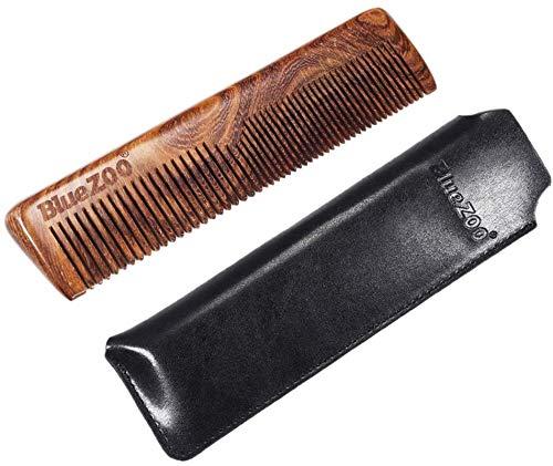 Kamm Handmade Sandelholz Holz Männer Bart-Schnurrbart-Bart-Kamm-Grooming Styling Shaping-Werkzeug mit PU-Kasten for Männer Barber - Schwarz, wie beschrieben, Farbe: Schwarz (Color : Black)