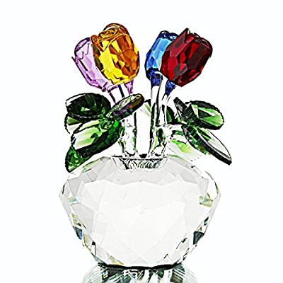 H&D Crystal Rose Figurines Collectibles Ornament Gift Crystal Rose Flower Bouquet with Gift Box