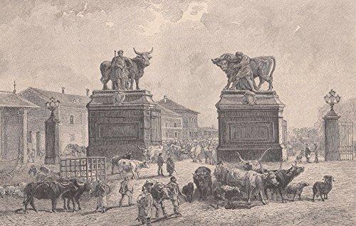 Wien - Die Viehmarktlinie. Die Toranlage des Zentralviehmarkts Sankt Marx. Ansicht mit Schlachtvieh. [Grafik]
