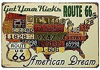 Route Us Road 66ライセンス メタルポスタレトロなポスタ安全標識壁パネル ティンサイン注意看板壁掛けプレート警告サイン絵図ショップ食料品ショッピングモールパーキングバークラブカフェレストラントイレ公共の場ギフト