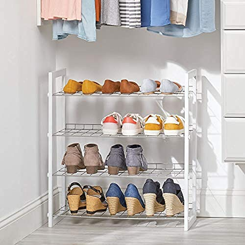Estante de zapatos con 4 niveles - Zapato de madera y metal para ahorro de espacio o el dormitorio - organizador de zapatos para varios pares de zapatos - Naturaleza-Colores de plata blanca / mate