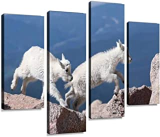 Mountain Goat Kids Leaping for Joy! Canvas Wall Art Painting Pictures Modern Artwork Framed Posters for Living Room Ready to Hang Home Decor 4PANEL