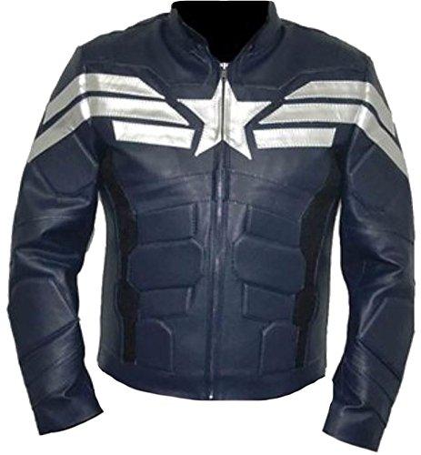 Classyak, giacca da uomo in stile capitan America, alla moda, in vera pelle Faux Blue XL-Per petto 112 cm- 117 cm