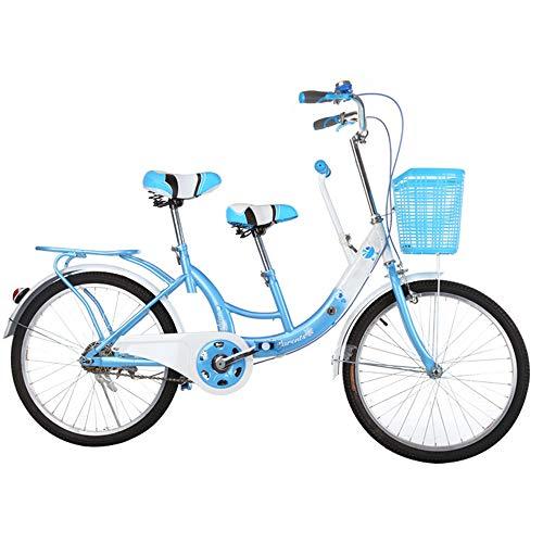 GWX 22 Zoll Mutter Kind Fahrrad Eltern Kind Tandem Fahrrad Für Erwachsene Fahrrad Mit Rutschfesten Pedalen Geeignet Für Reisen Mit Kindern,Blau