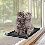 SFENNGPET Cat Window Perch, Cat Hammock Window Seat w/ 2021 Latest Screw Suction Cups Cat Bed Space Saving Extra Large and Sturdy Holds Up to 60LBS All Around 360° Sunbathe Easy to Assemble