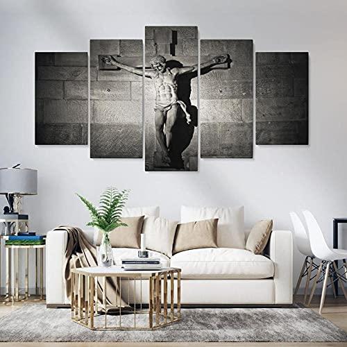 Composición de 5 Cuadros de Madera para Pared Jesús en la Cruz Impresión Artística Imagen Gráfica Decoracion De Pared Abstracto 150 * 80cm con Marco