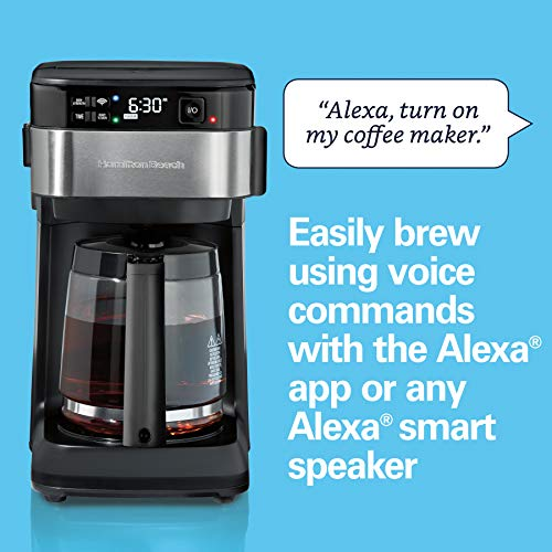 Product Image 5: Hamilton Beach Works with Alexa Smart Coffee Maker, Programmable, 12 Cup Capacity, Black and Stainless Steel (49350) – A Certified for Humans Device
