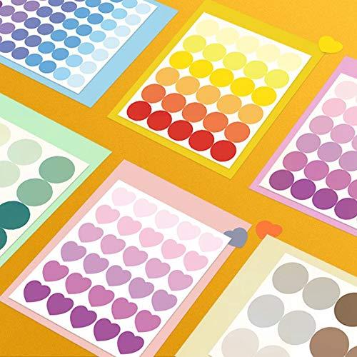 PMSMT 6 Hojas de Puntos de Colores Amor corazón Pegatinas Scrapbooking DIY Diario álbum Adhesivo Adhesivo Kawaii papelería