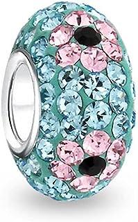 Fiore Primavera Cristallo Spacer Perline Core 925 Sterling Argento si adatta europeo fascino braccialetto per le donne per...
