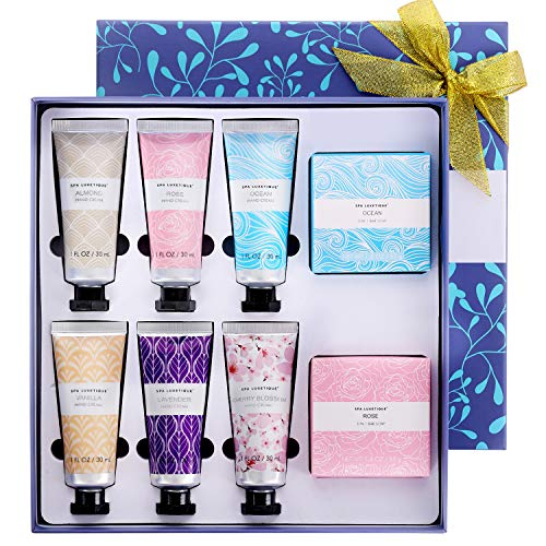 Spa Luxetique Set de Cremas de Manos Con Rápida Absorción y Ultra Hidratación, Crema Protectora de Manos para Mujer, Set de Regalo con 8 Piezas,Cremas de Manos de Manteca de Karité