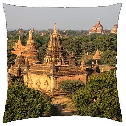 LESGAULEST Throw Pillow Cover (18x18 inch) - Myanmar Burma Light Nice View Travel Pagoda Gold