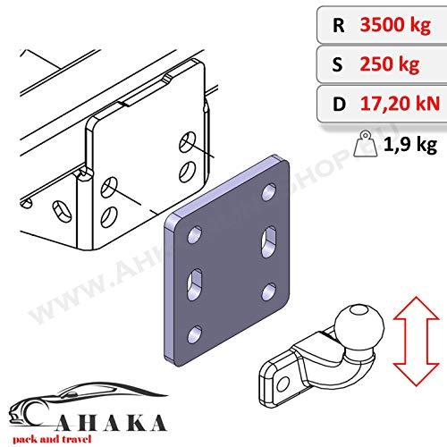 Placa adaptadora Ajustable en Altura para Enganche de Remolque, 2 Orificios, Bola de Brida, 90 mm