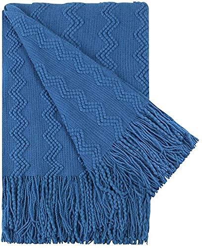 Adory Sweety Manta decorativa de punto para sofá cama, borla escandinava, patrón de agua grande (50 x 70 pulgadas), color azul