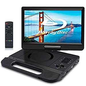 Portable Blu-Ray DVD Player with Rechargeable Battery, Support USB/SD Card, HDMI Out & AV in, Snyc Screen, 1080P Video, Dolby Audio, Last Memory(Black)
