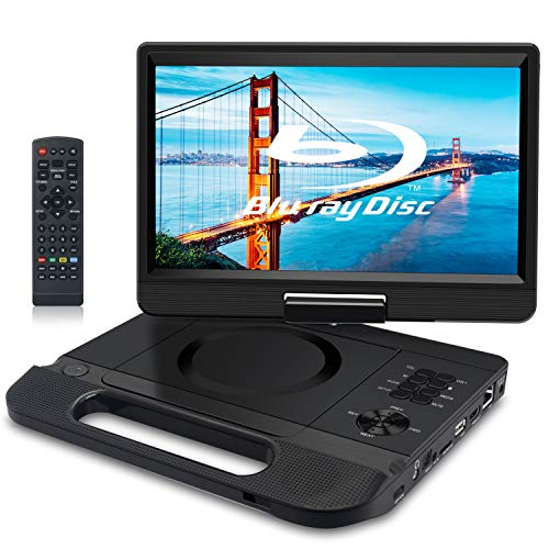 FANGOR 12.5' 1080P Portable Blu-Ray Player with 10.1' HD Swivel Screen, HDMI Out & AV in, Multi Media Player, 5 Hours Rechargeable Battery, Supports USB/SD Card, Last Memory, Region Free