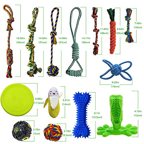SHARLOVY Dog Chew Toys for Puppies Teething, 14 Pack Dog Rope Toys Tug of War Dog Toy Bundle Toothbrush iq Treat Ball Squeaky Rubber Bone Durable Dog Chew Toys for Small Dogs Pet Toys Puppy Toys