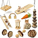 Labeol Hamster Chew Toys Accessories Pet Natural Wooden 11 Pcs Gerbil Rat Guinea Pig Chinchilla Gerbils Dumbbells Accessories Exercise Bell Roller Teeth Care Molar Toy for Parrot Syrian Hamster