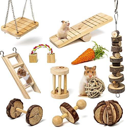 Labeol Hamster Kauspielzeug 11 Stück Natürliches Kiefernholz aus Holz Übung Glockenrolle Zahnpflege Molar Backenzahnspielzeug Spielzeug für Meerschweinchen Ratten Chinchillas Spielzeug Zubehör