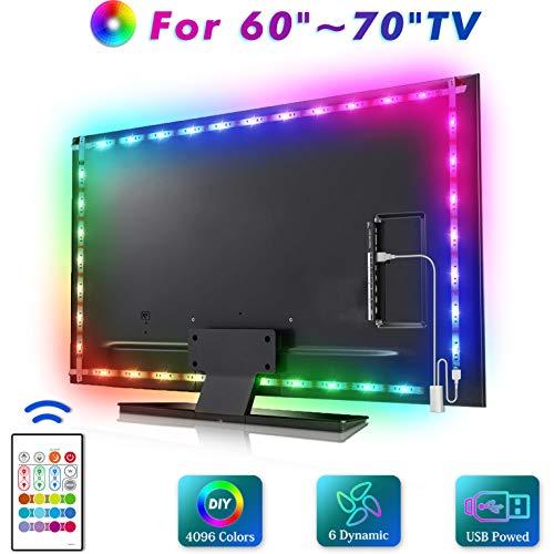 MYPLUS LED-TV-Hintergrundbeleuchtung, 4 m LED-Lichtleiste für 152,4–177,8 cm (60–70 Zoll) HDTV, RGB SMD 5050 USB-betriebene Schräglicht-Kit (2 x 72 cm + 2 x 127,5 cm)