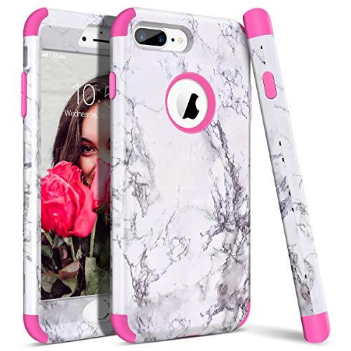 WE LOVE CASE iPhone 7 Plus Cover Marmo 360-Grad all Inclusive Custodia Rosa Cassa Duro del PC di Plastica e Silicone Protezione Shock Proof Anti Graffio Caso per Apple iPhone 7 Plus / 8 Plus 5,5'