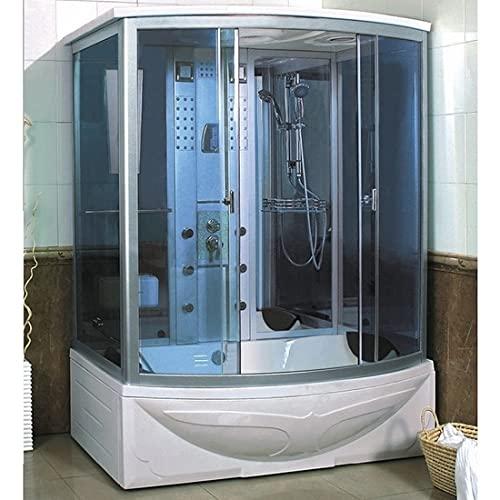 Cabina de ducha hidromasaje 170 x 93 cm bañera hidromasaje 2 plazas radio cromoterapia baño turco