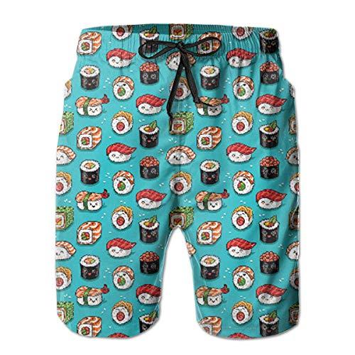 wwoman Tronchi da Bagno per Uomo Cute Kawaii Sushi Pantaloncino Corto da Spiaggia Quick Dry,XL