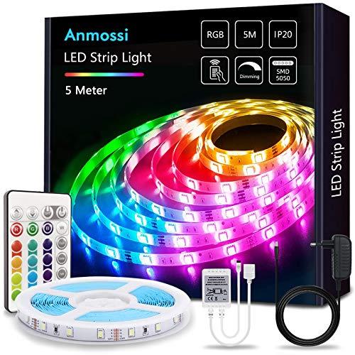 Anmossi Striscia LED 5m,Strisce LED RGB 5050 con 24-Tasti Telecomando IR,20 Colori e 4 Modalità,Adatto per Camera da Letto,Salotti,Cucina,Decorazioni per Feste e per la Casa