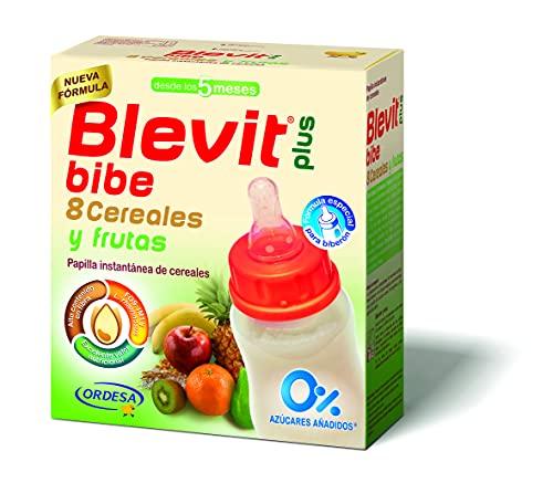 Blevit Plus Bibe 8 Cereales y Frutas - Papilla de Cereales para Bebé fórmula especial para Biberón - Facilita la Digestión - Desde los 5 meses - 600g